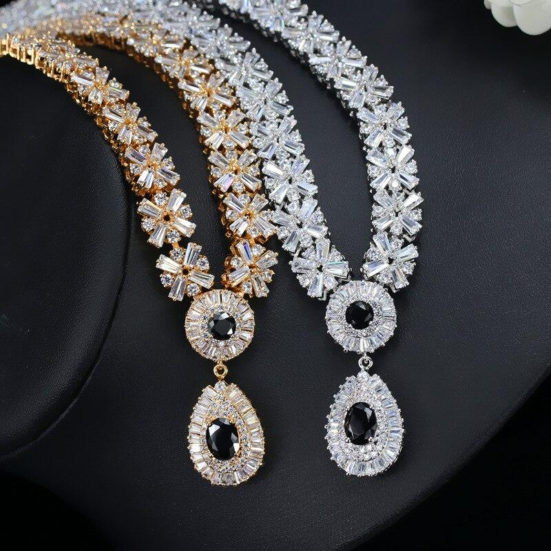 CWWZircons Collar de oro blanco nupcial de lujo CZ Crystal y conjunto - Bisutería - foto 3