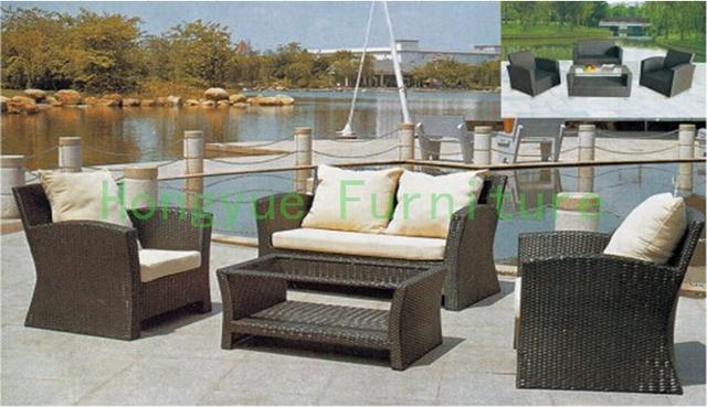 Ratán jardín exterior conjunto de sofás muebles