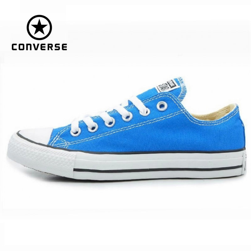 цена на Original Converse all star men's and women's sneakers Sky blue canvas shoes for men women low Skateboarding Shoes free shipping