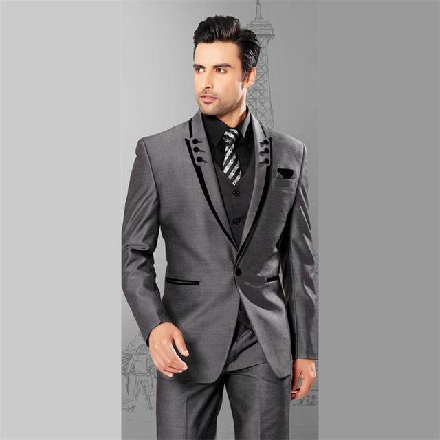 Online Shop LN077 Men Suits Slim Fit Peaked Lapel Tuxedos Grey ...