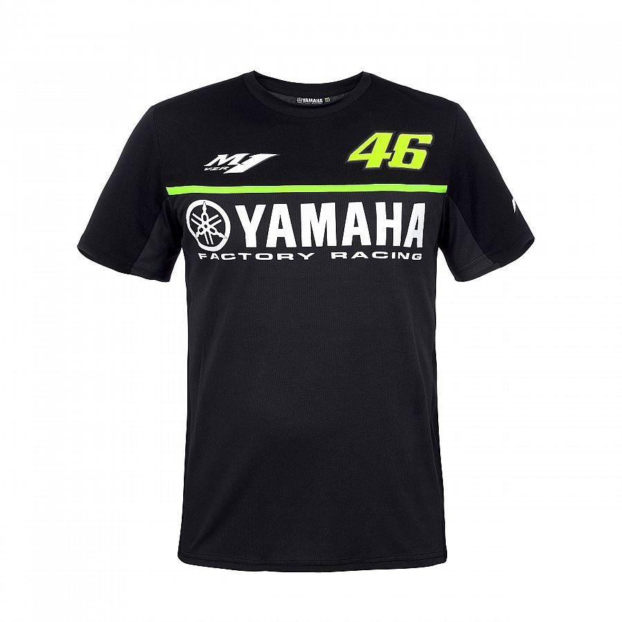 2018 Valentino Rossi VR46 per Yamaha Racing MotoGP Uomini Rapida Asciugatura T-Shirt Nera