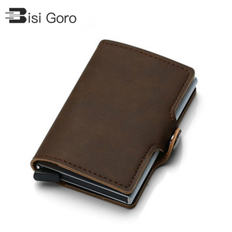 BISI GORO 2019 PU Leather intage Business ID Holder Single Box Credit Card Case Women and Men RFID Wallets Hasp V