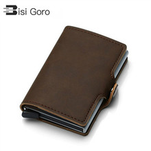 BISI GORO 2020 PU Leather intage Business ID Holder Single Box Credit Card Holder Card Case Women and Men RFID Wallets Hasp V baxi luna 3 280 fi