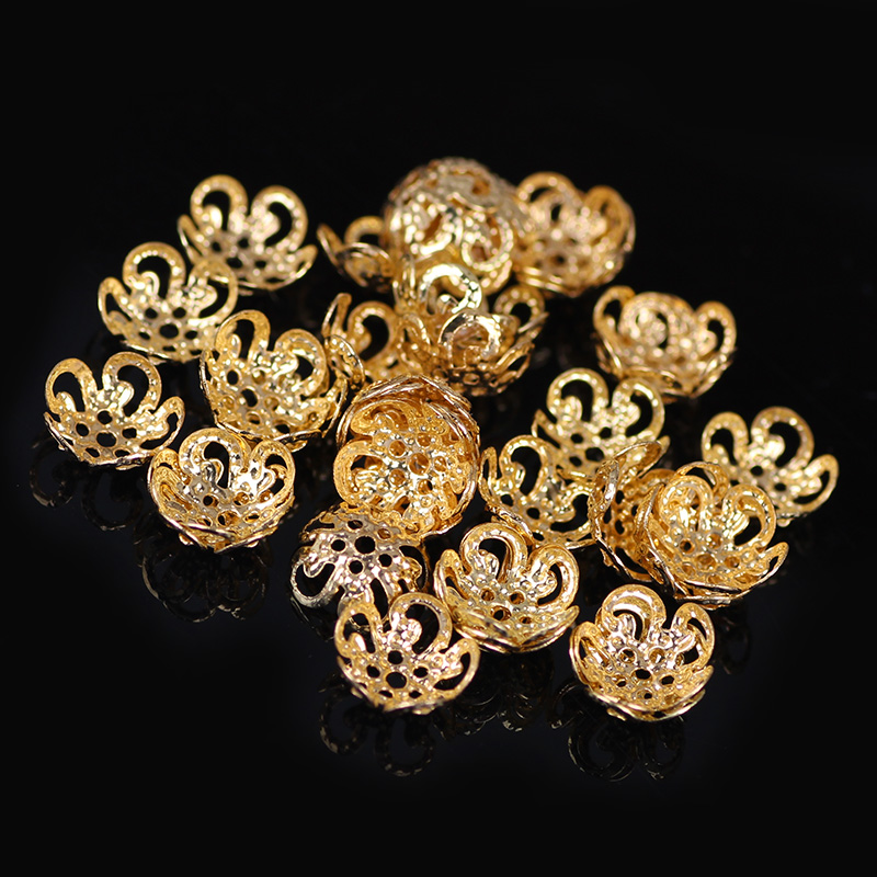 6 8 12mm Hollow Flower Metal Filigree Loose Spacer Bead Caps Silver Gold Accessories components supplies For DIY Jewelry Making