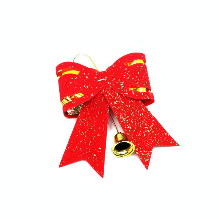 Ribbon Bowknot Christmas Tree Decorations Red Gold Jingle