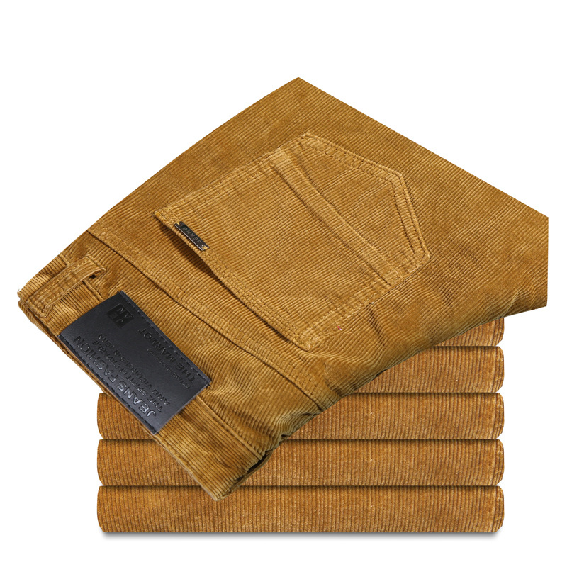 Winter Corduroy Pants Men Black Khaki Straight Thick Male Trousers of Leisure Business Men's Cotton Casual Pants Long Trousers