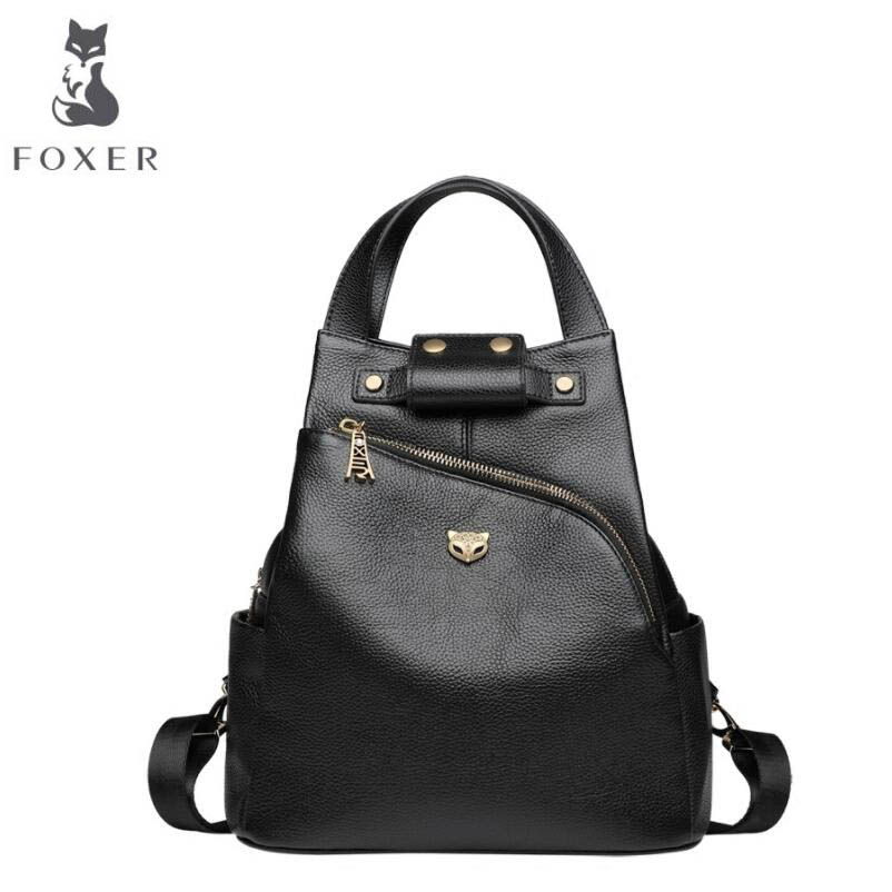 FOXER 2018 New women Genuine leather bag designer brand leather women backpack quality fashion Casual women leather backpack недорго, оригинальная цена