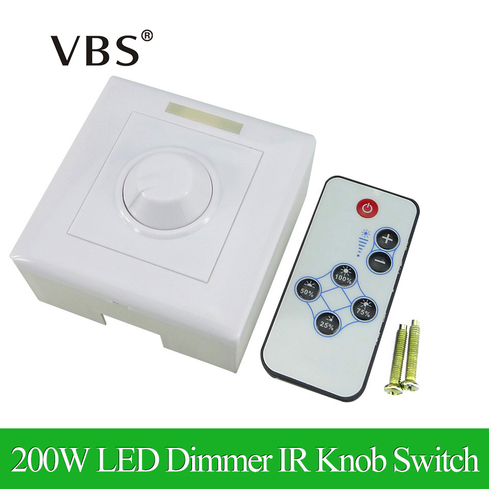 200W White LED Dimmer IR Knob Switch Remote Control Many Units Dimmable LED Strip LED Downlight LED Panel Light Led Bulb infrared remote control w led dimmer for led light stripe white