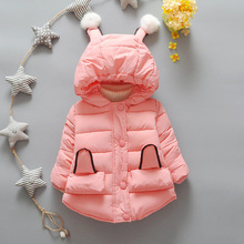 New girls warm coat baby winter Rabbit ears down jacket kids hooded outwear long sleeve  children cotton-padded clothes  Z040