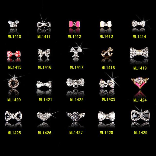 100 Pc/lot Joyería Del Clavo para el Arte Del Clavo Del Brillo 3d Decoración Bowknot Gemas Mixtas Diseño UV Gel Esmalte de Uñas Accesorios ML1420
