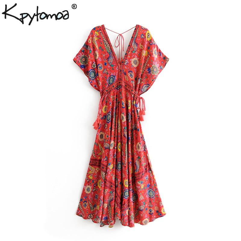 Boho Vintage Floral Imprimé Paon Robe Longue Femmes 2019 Nouvelle Mode Bandage V Cou Robes De Plage D'été décontracté Robes Mujer