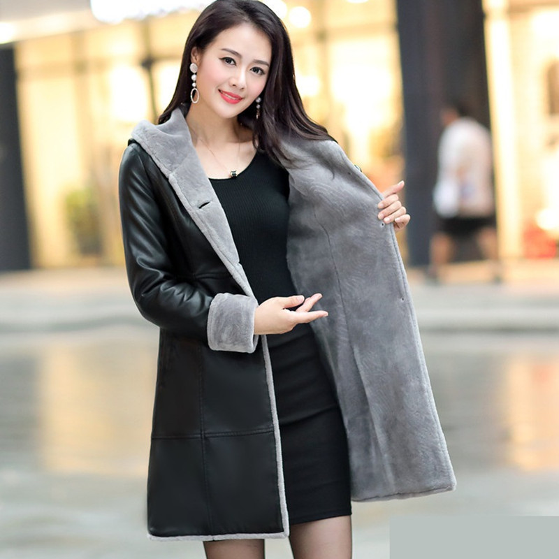 New Winter   Suede     Leather   Coat Women Fashionable Long Thick Lamb Fur Parka Female Faux Sheepskin Windbreakers Jacket LJ0743