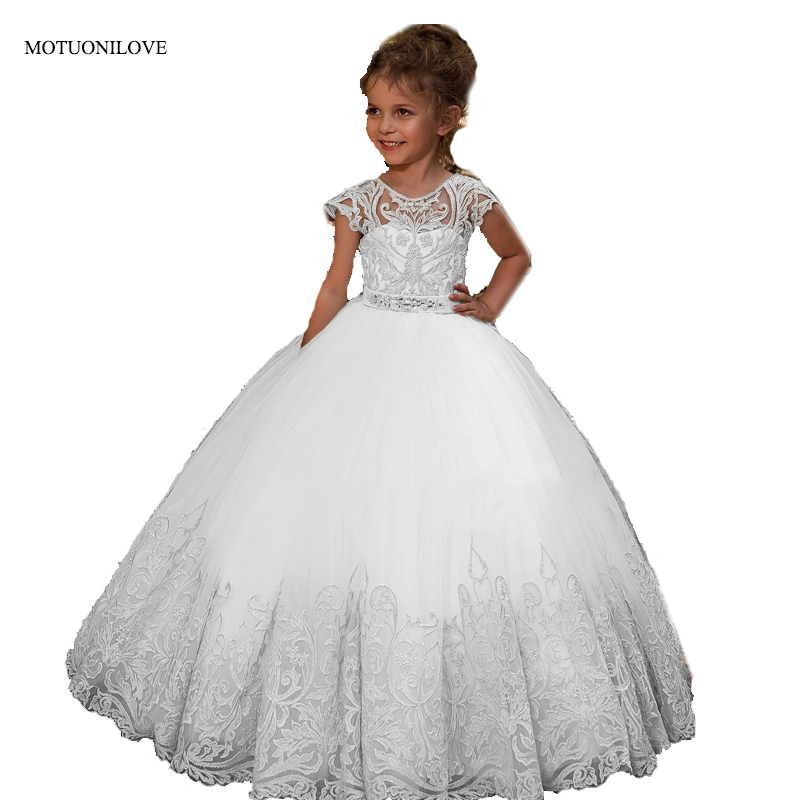 Sheer Cap Sleeves Lace Tulle Ball Gowns   Flower     Girls     Dresses   For Wedding Party Kids Children Little Bride   Dress   Primera Comunion