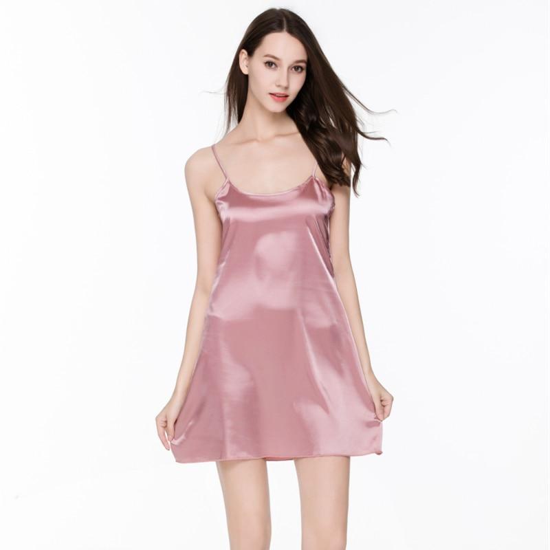 2016 Fashion Summer Sleepwear Women Night Dress Indoor Clothing Plus Size Silk Sleeveless Pijamas 1
