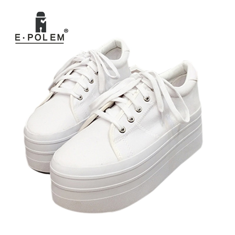 Fashion Canvas Shoes Woman Plimsolls Girls Harajuku Loafers Thick Bottom Platform Shoes Ladies Creepers Casual Lace-Up Flats Foo de la chance 2018 spring summer women shoes woman harajuku flats lace up casual fashion ladies creepers platform shoes white