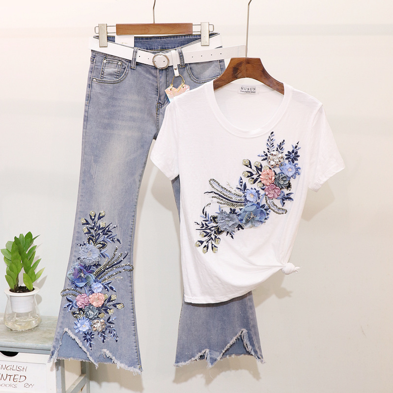 Spring Summer New Fashion Flare Jeans Set Embroidery Flower Cotton T shirt Jeans Pants Two piece