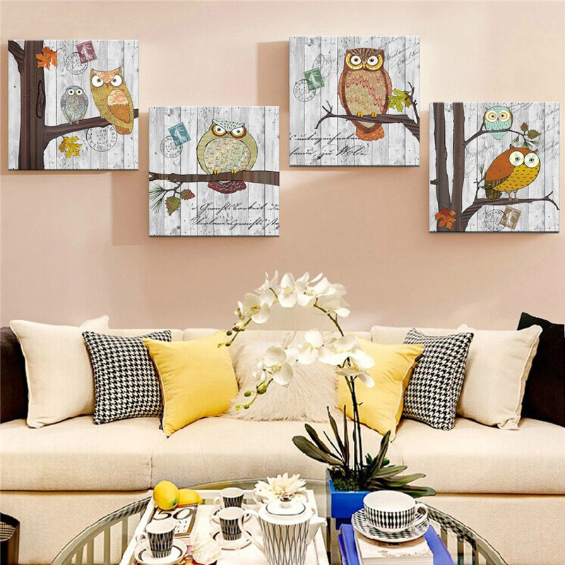 Exceptional Canvas Painting New 4 Piece Lovely Owl Wall Canvas Paintings Wall  Decorations For Home Living Room Home Artwork Giclee WallR134 In Painting U0026  Calligraphy ... Part 5