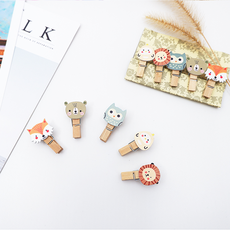 10Pcs/lots Kawaii Forest Animals Wood Clip Cartoon  Photo Paper Postcard Craft DIY Decoration Clips Office Binding Supplies
