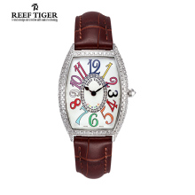 Reef Tiger/RT Lasies Fashion Casual Watches Ronda 762 Quartz Watches with Diamonds Arabic Numerls Watches RGA171
