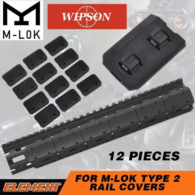 WIPSON Tactique Mlok Type 2 Rail Couvre eMag Pul TYPE Pour M-lok SLOT SYSTÈME Rail Panneau 12 pcs pour En Plein Air Chasse Wargame Montage
