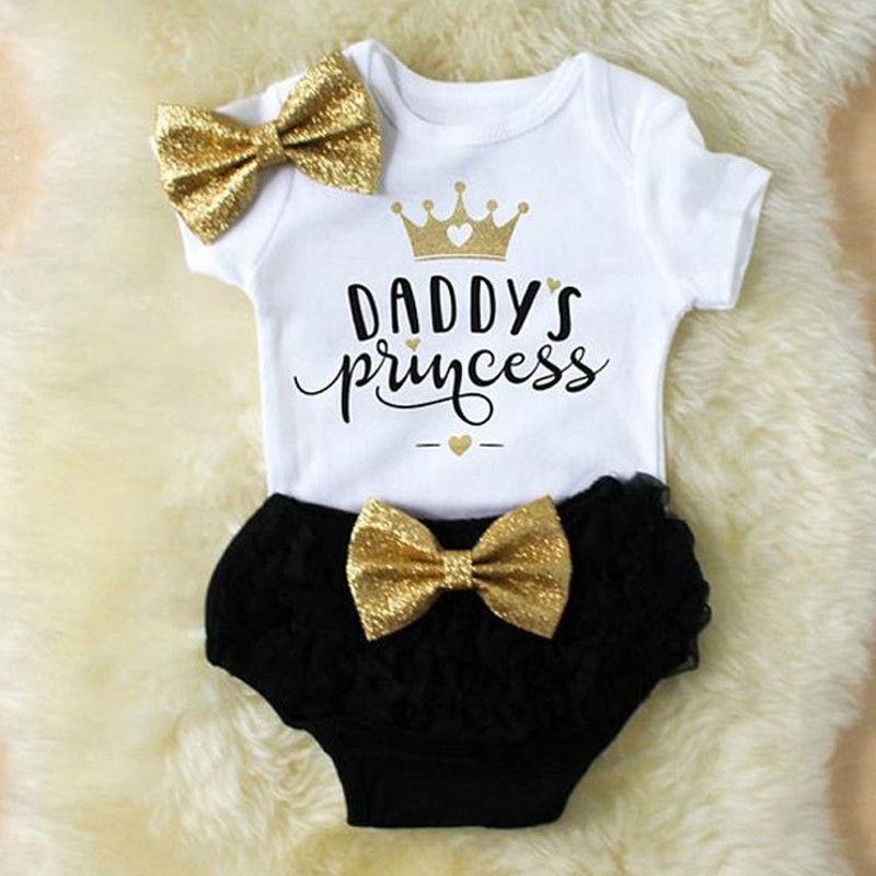 3PCS Cute Newborn Baby Girl Outfits Clothes Tops Bodysuit Shorts Pants Set