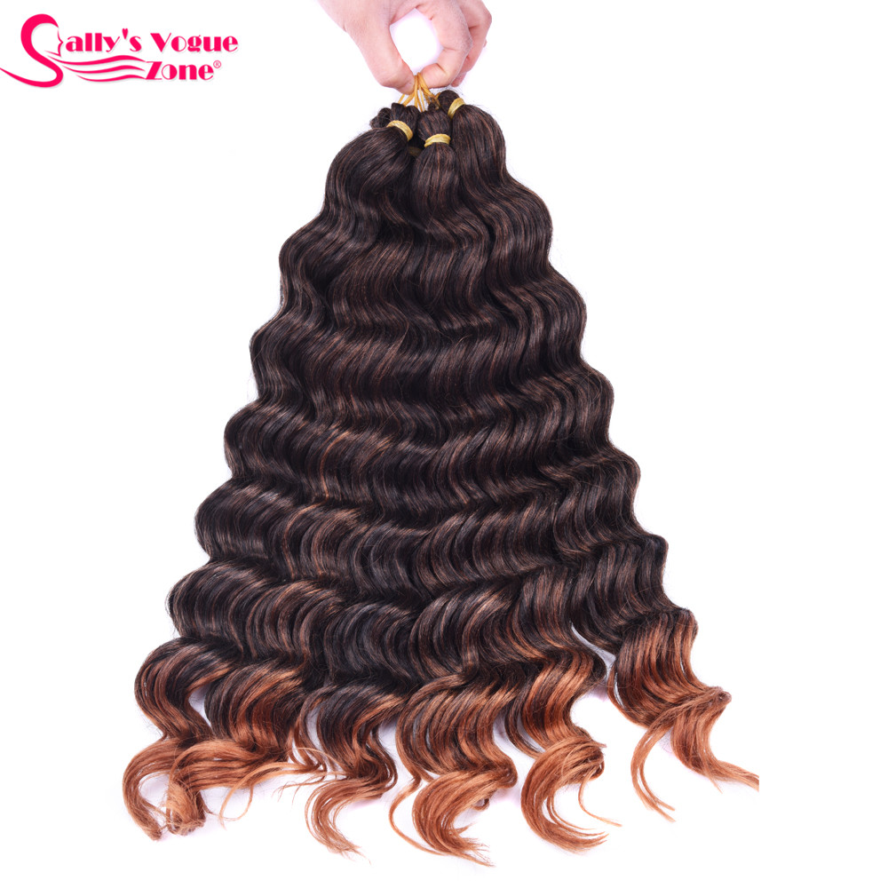 Sallyhair High Temperature Synthetic Deep Wave Twist Crochet Braids Black Color Bulk Hair Extension  (13)