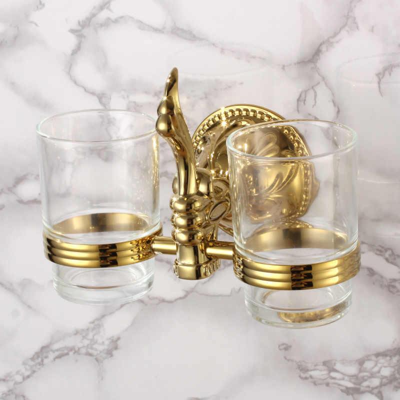 Luxus gold 4-teilig Bad Hardware Zubehör Set messing kupfer kleiderhaken zahnputzbecher Wc-bürstenhalter seifenkorb