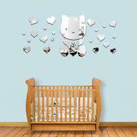 Kids Room Love Heart Bear Mirror Wall Stickers Baby Bedroom Acrylic Mirrored Decorative Sticker Quotes 3D