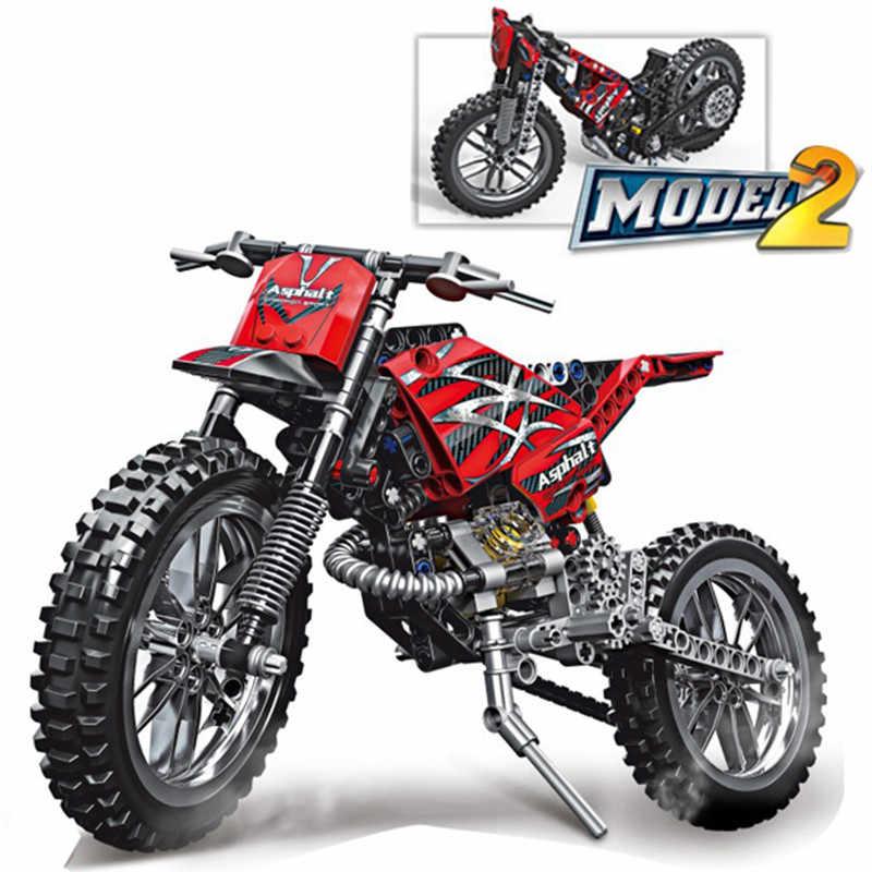 253 pcs Blocos de Construção do Modelo de Moto MOTO Moto Cruz DIY Educacional Bricks Compatível Com LegoINGlys Técnica dropshipping