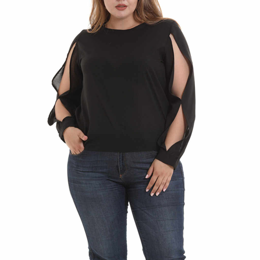 Plu  Size Tops Women Blouses Fashion O-Neck Long Sleeve Solid Shirts Womens Tops And Blouses blusas mujer de moda 2019