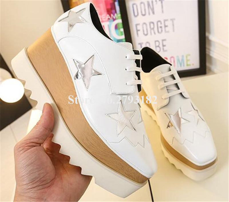 Brand Design Women Fashion Square Toe Stars Printed High Platform Shoes Lace-up Pentagram Wedge Casual Shoes fashion anchor printed square new composite linen blend pillow case