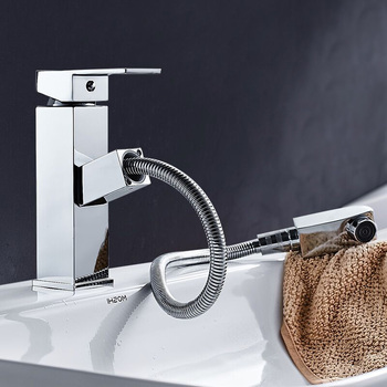 Pullable Faucet Brass Hot and Cold Faucet Bathroom Countertop Wash Basin,Waterfall Tank Single Handle Bath Sink Faucet Mixer Tap
