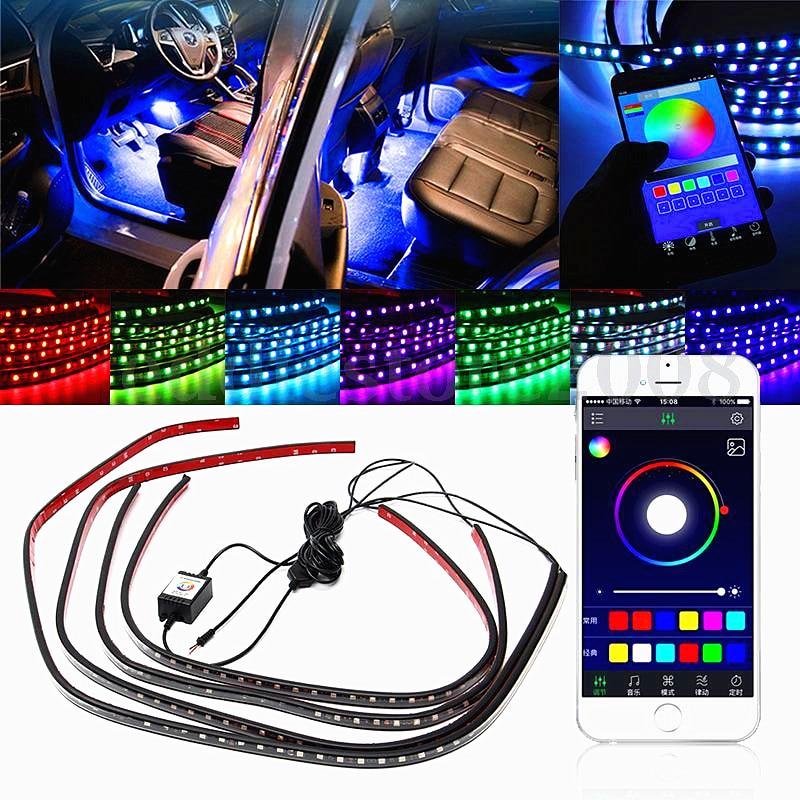 4x RGB LED Car Lights Decorative Lamp Tube Strip Light Underglow Undercar Music App Control Kit WireLess Black Shell Waterproof