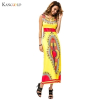 Women Dress for Summer Casual Sleeveless African Tribal Floral Print Long Dress Vestidos sexy 2017 Ladies dresses for women GBY