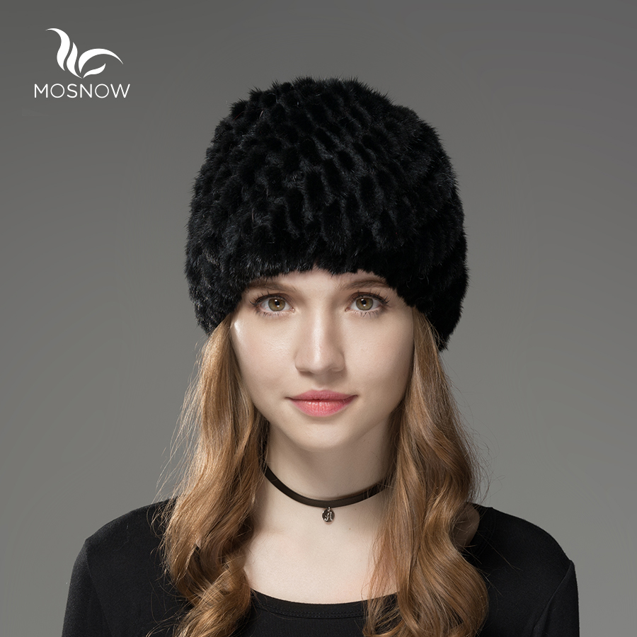 Mosnow Fur Hats For Women Natural Mink Fur Pineapple Pattern Winter