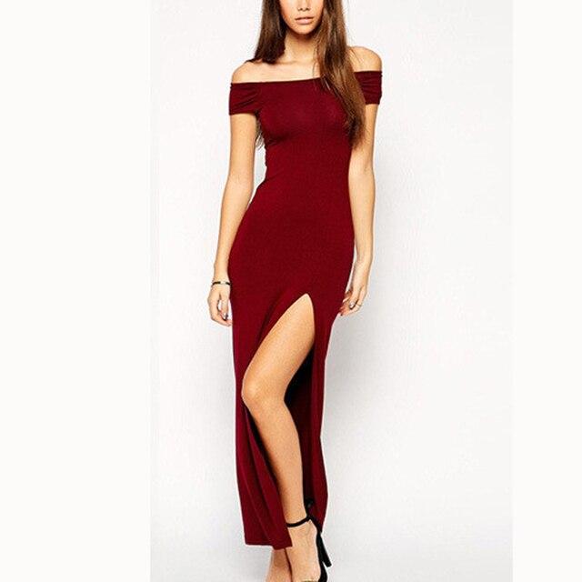 62de9eafec6f Long dresses Nice fashion women maxi dresses slash collar hollow out sexy  dresses Lady elelgant party dresses CD997
