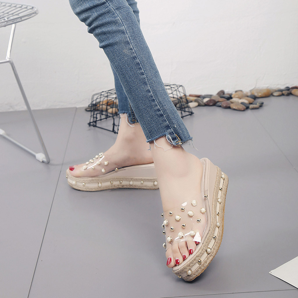 HTB1fTPIaO 1gK0jSZFqq6ApaXXay Fashion Jelly Sandals Summer Candy Slippers Woman Shoes Flats Ladies Womens Zapatos Mujer Slip On Pearl Beach Wedges Jelly Shoe
