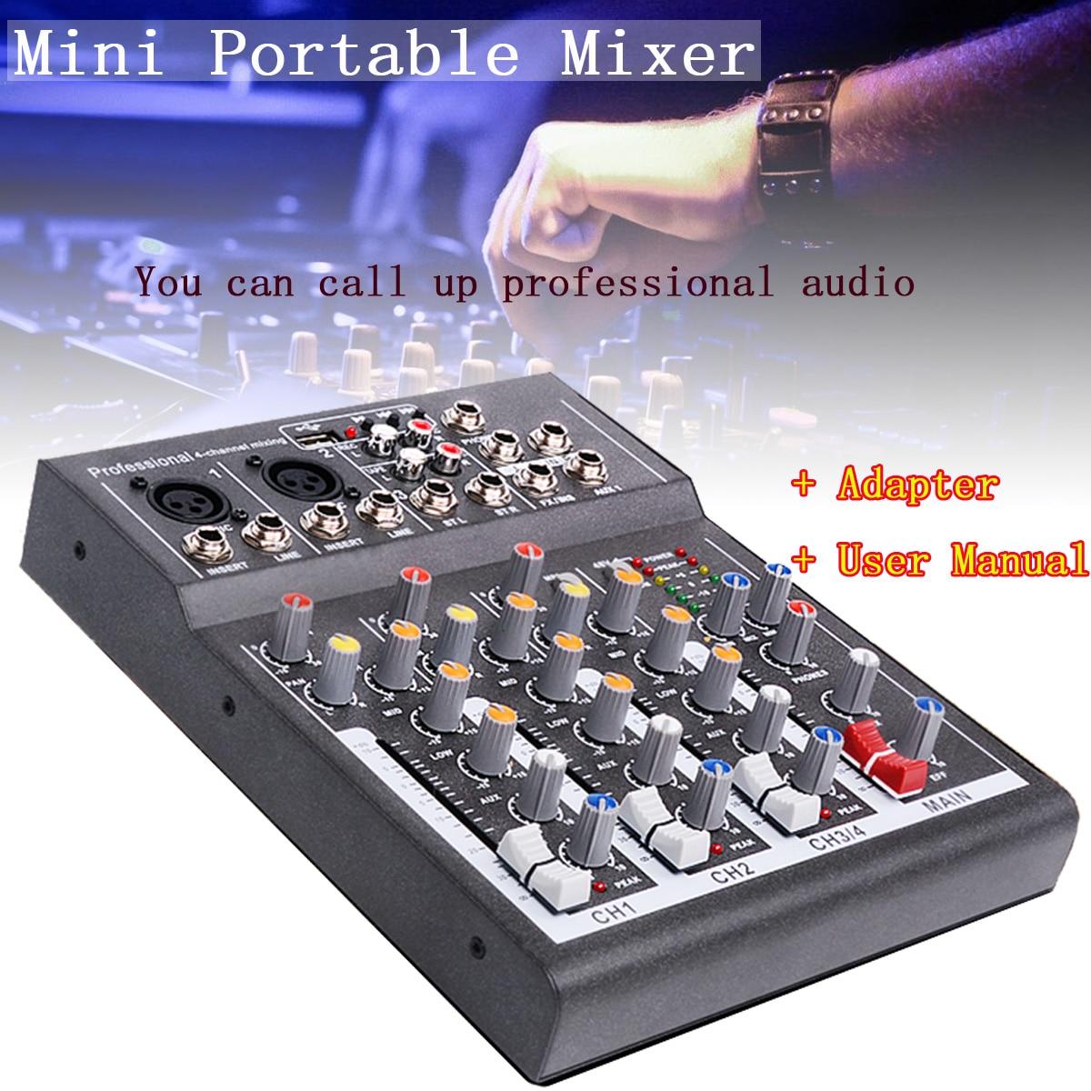 CLAIT караоке микшер Professional 4 канала Студия аудио микшерный пульт усилитель цифровой мини микрофон звуковой микшер звуковая карта