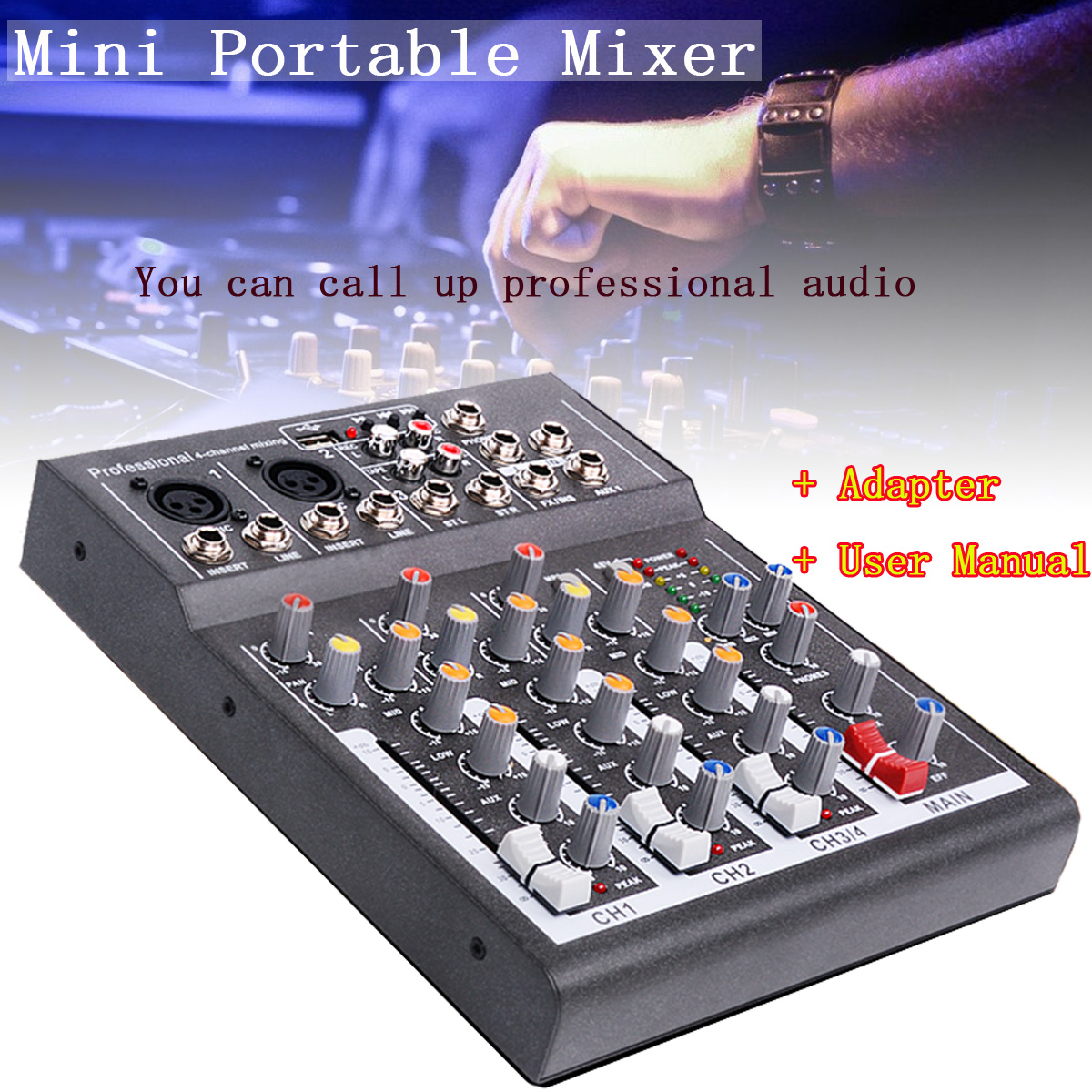 CLAIT Karaoke Mixer Professional 4 Channel Studio Audio Mixing Console Amplifier Digital Mini Microphone Sound Mixer Sound Card professional 4 channel live mixing studio audio sound console network anchor portable mixing device vocal effect processor