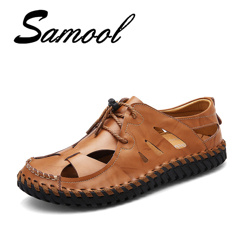Summer New Arrival Soft Leather Beach Sandals Lace Up Handmade Split Leather Casual Mens Breathable Sandal Simple Design Gx25