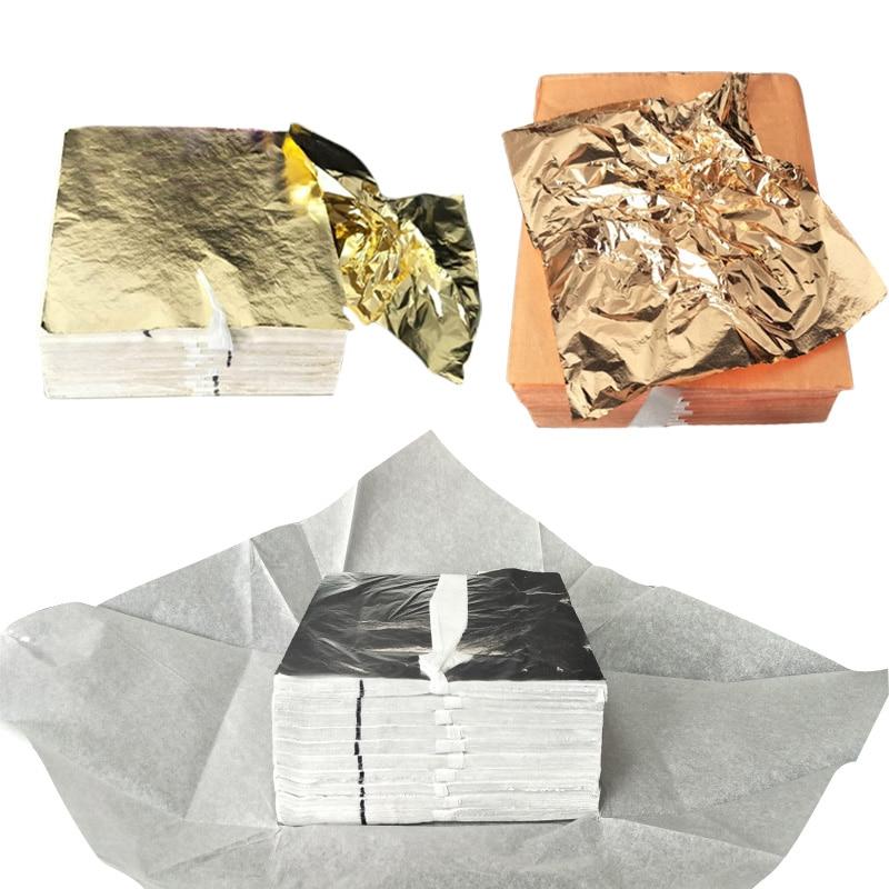 100Pcs DIY Craft Decor Gold Silver Copper Foil Wrapper Cosmetics Furniture Home Surface Decoration Gilding Paper Sheets 14x14cm