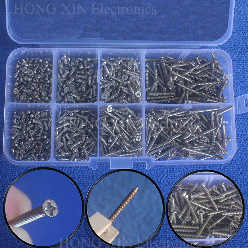 800Pcs/set M2 Self-Tapping Screws Cross Drive Flat Head Screw Woodworking Fastener With Box Hardware Wholesale