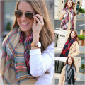 Warm autumn and winter woman scarves, imitation cashmere  colorful plaid scarf shawl