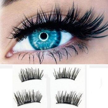 Hot Women's Fashion 1 Pair 3D Magnetic False Eyelashes Lashes Reusable False Magnet Fake Eyelashes Makeup Beauty Drop Shipping Health & Beauty
