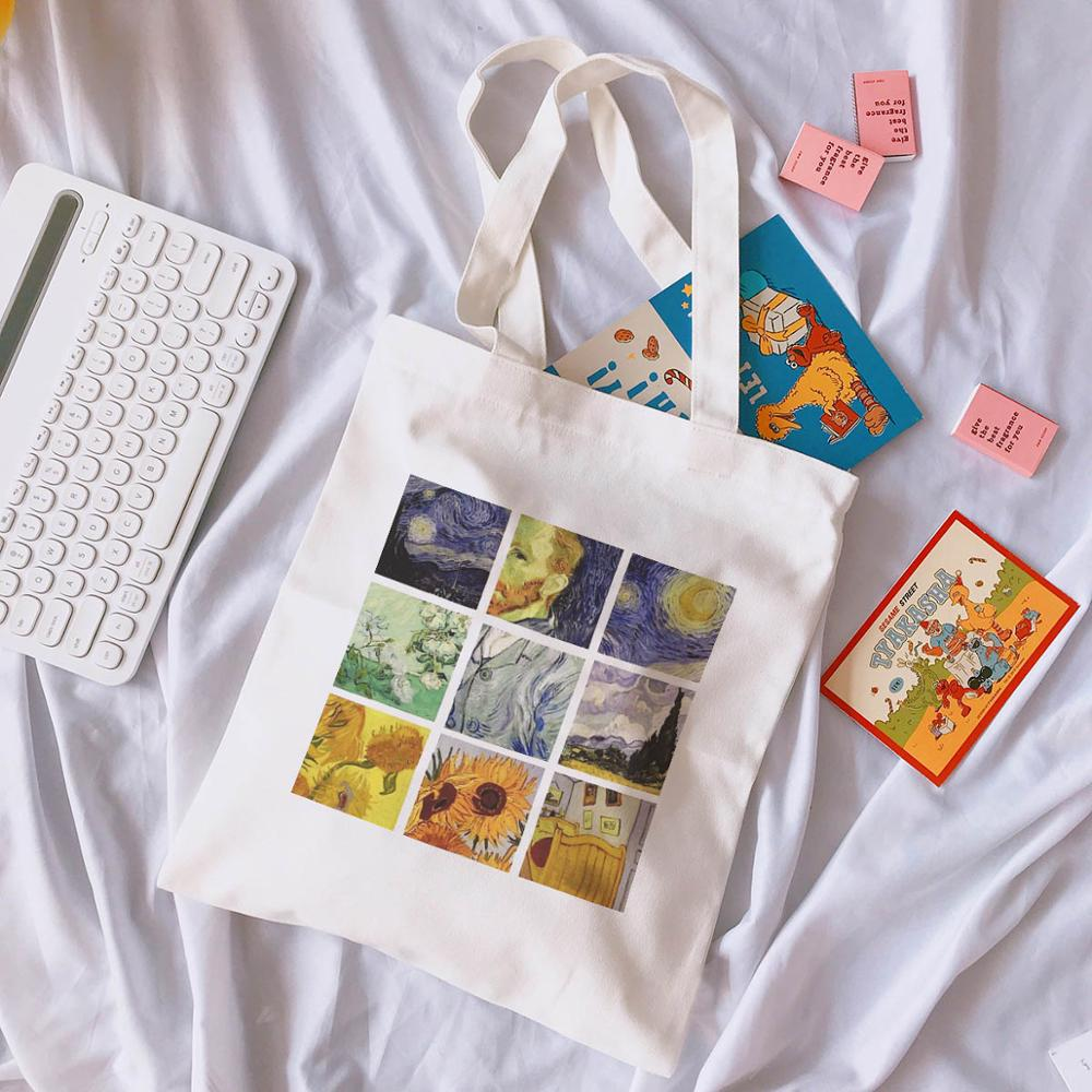 Van Gogh Letters Cartoon Printed Canvas Shoulder Bag Female Harajuku Flower Art New Ulzzang Funny Large-capacity Shoulder Bags