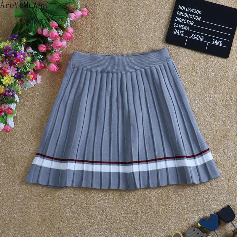 AreMoMuWha весна и осень Корейский темперамент ретро короткие цвета соответствующие студенческий стиль плиссированная юбка вязаная юбка женская QX569