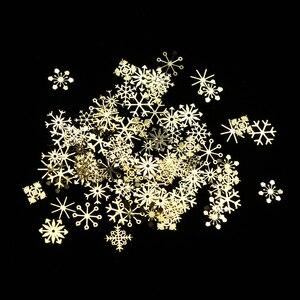 Image 4 - 1 pièces or neige flocons ongles paillettes étincelles métallique fleurs hiver 3D paillettes Paillette décor accessoires manucure outils BE889