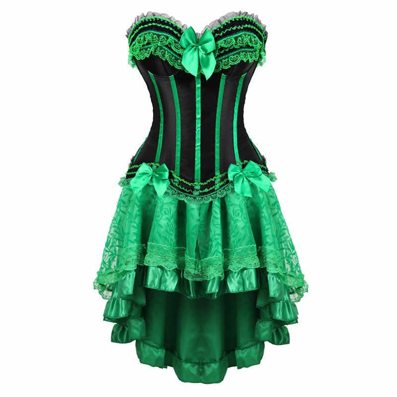 Dantel korse elbiseler burlesque artı boyutu iç çamaşırı zip büstiyer korse etek kadınlar için parti gotik lolita seksi yeşil korsett 6XL