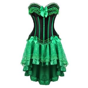Image 1 - Kant corset jurken burlesque plus size lingerie zip bustier corset rokken voor vrouwen party gothic lolita sexy groen korsett 6XL
