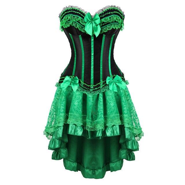 Vestidos con corsé de encaje para mujer, lencería de talla grande, corsé con cremallera, faldas, lolita gótica de fiesta, korsett verde, 6XL